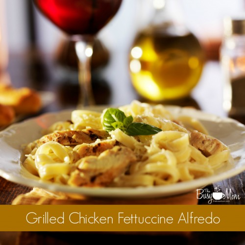 fettuccine alfredo with grilled chicken dinner at night