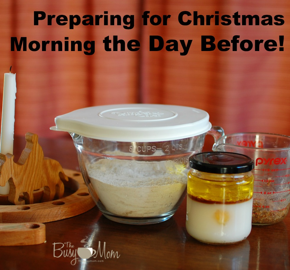 Preparing for Christmas morning breakfast the day before!  Tips and a Gluten/Dairy Free recipe from The Busy Mom.