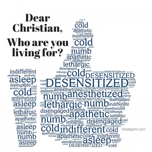 Dear Christian, who are you living for? Heidi St. John talks about the desensitization of Christians toward sin in the culture