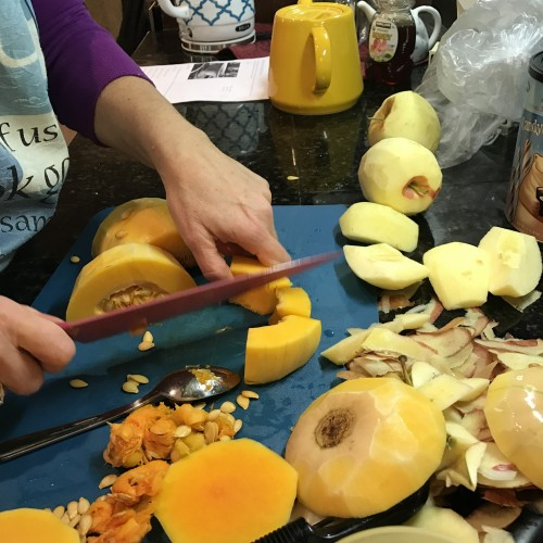This is my faithful friend showing me that I don't have to be afraid of butternut squash. Veggie Tales may or may not have affected my ability to cut up butternut squash. Turns out... once you peel it and seed it, it's not that hard. :)