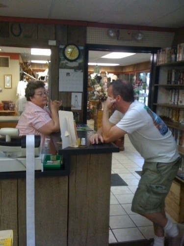 Make new friends! Here's Jay, getting to know the manager of an RV park in Alabama.