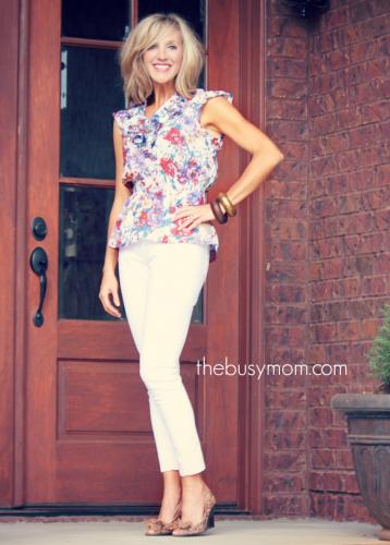 TBM white jean floral
