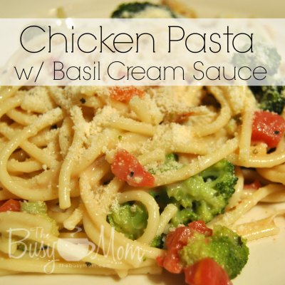 Chicken Pasta with Basil Cream Sauce